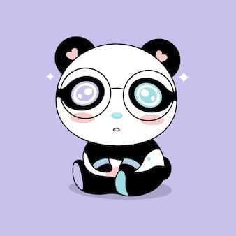 Cute panda bear cartoon character children print on tshirt vector illustration