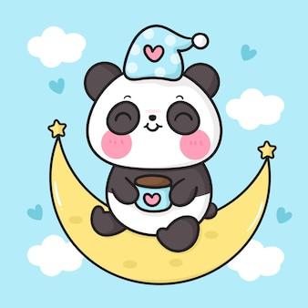 Cute panda bear cartoon drinking coffee