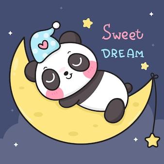 Cute panda bear cartoon sleep on on moon good night kawaii animal