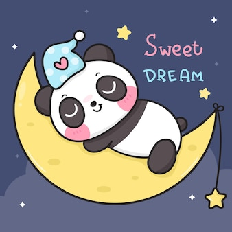 Cute panda bear cartoon sleep on moon good night kawaii animal