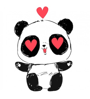 かわいいパンダの顔。愛情のこもった表情。漫画のキャラクター。図。