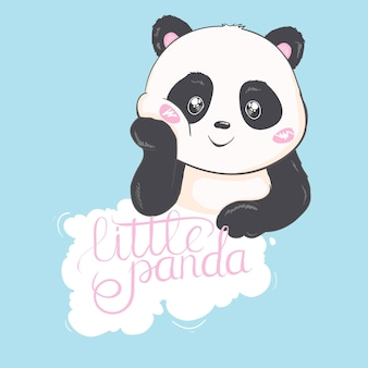 Cute panda bear illustration. animal vector. panda with flowers.