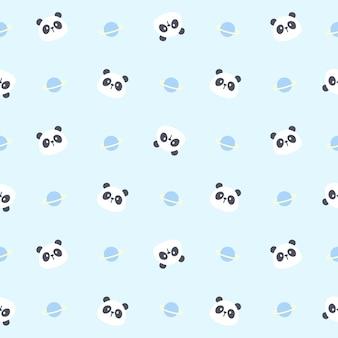Cute panda bear and planet seamless pattern background