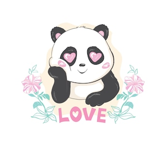 Cute panda bear, vector illustration.