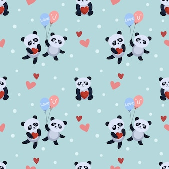 Cute panda bear with balloon and heart  pattern.