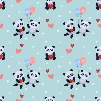 Cute panda bear with balloon and heart  pattern. Premium Vector