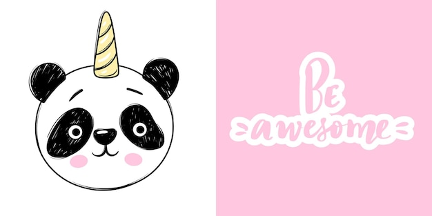 Cute panda bear with unicorn and lettering