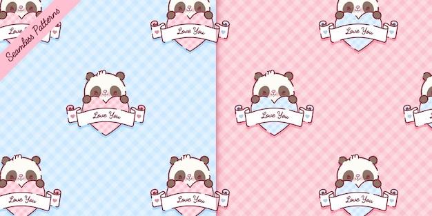 Cute panda bears seamless patterns set premium vector