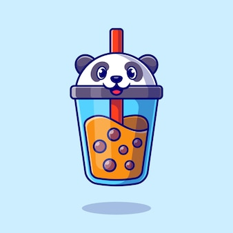 Cute panda boba milk tea cartoon