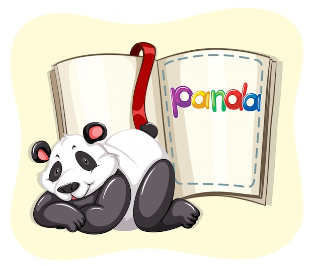 Cute panda and a book