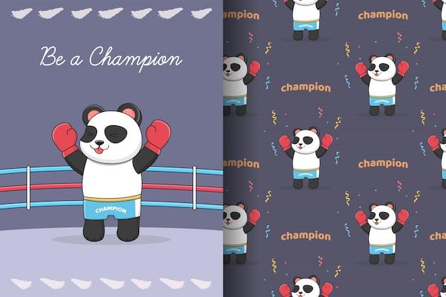 Симпатичные панда боксер бесшовные модели и карты
