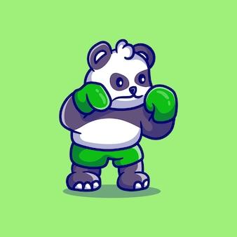 Cute panda boxing illustration