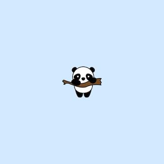 Cute panda on a branch cartoon icon