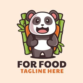 かわいいパンダは竹のバックパックの漫画のロゴのデザインをもたらします