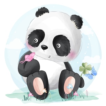Cute panda and butterflies