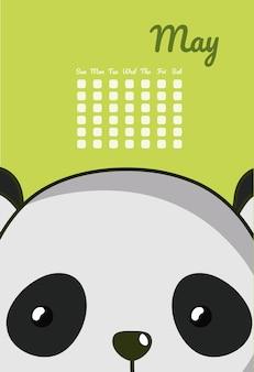 Симпатичный панда календаря панды