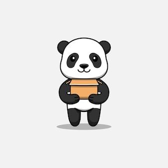 Милая панда, несущая картон