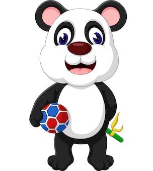 Милый панда с мячом