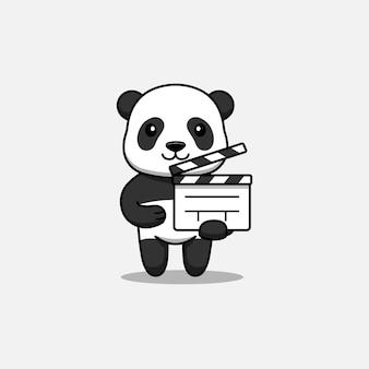 Cute panda carrying a clapperboard