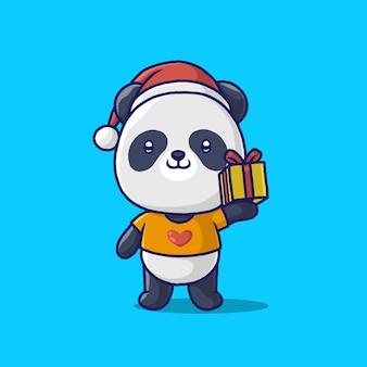 Милая панда, несущая подарочную коробку, изолированную на синем