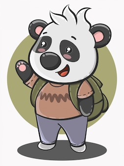 Cute panda cartoon back to school