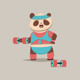Cute panda cartoon character doing exercises with dumbbells on the bicep