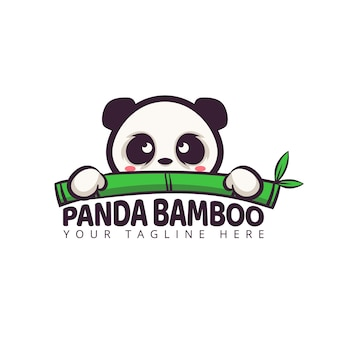 Cute panda cartoon character logo with bamboo leaf