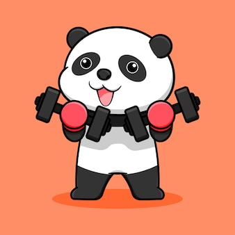 Cute panda cartoon design with dumbbells