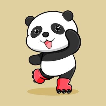 ローラースケートでかわいいパンダの漫画のデザイン