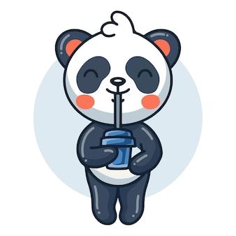 Cute panda cartoon drinking coffee