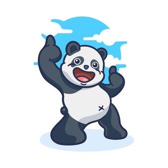 親指を立てるかわいいパンダの漫画