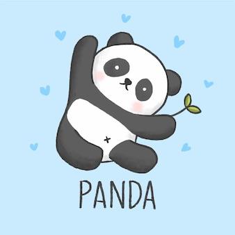 Cute panda cartoon hand drawn style