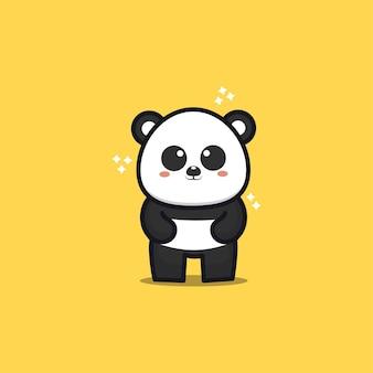 Cute panda cartoon icon illustration Premium Vector