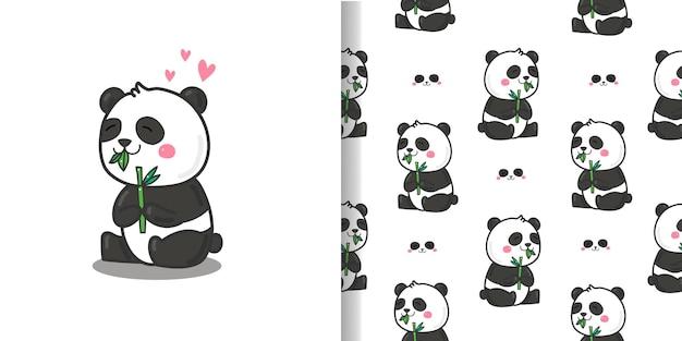 귀여운 팬더 만화 패턴 원활한 배경