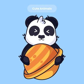 Cute panda cartoon vector icon illustration