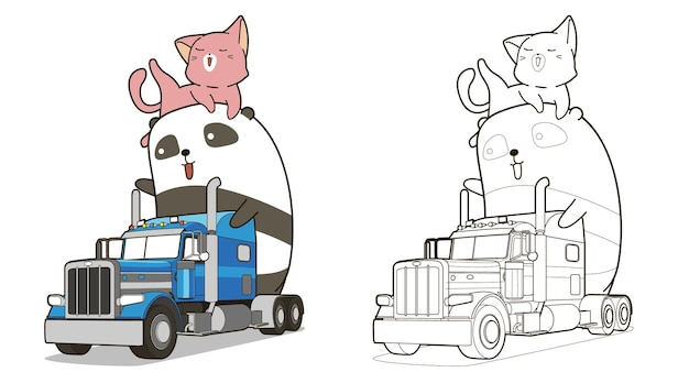 Cute panda and cat with truck cartoon coloring page