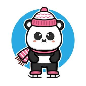 Милая панда празднует рождество векторная иллюстрация
