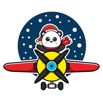 Cute panda celebrating christmas with the plane vector illustration