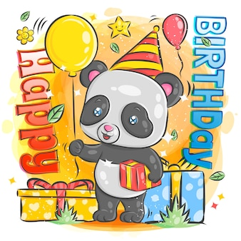 Cute panda celebration happy birthday illustration