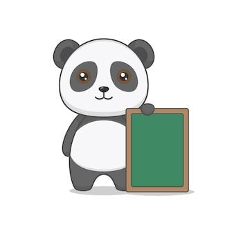 Cute panda character holding board