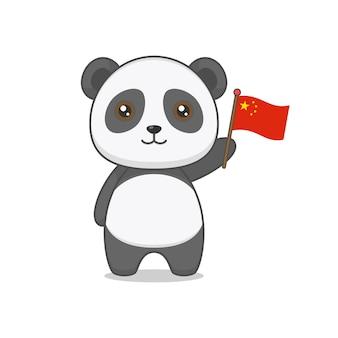 중국 국기를 들고 귀여운 팬더 캐릭터