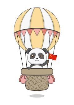 Cute panda character riding hot air balloon and holding chinese flag