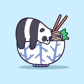 Cute panda character sleep on a bowl of ramen illustration