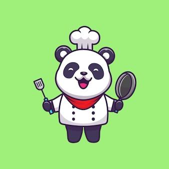 Cute panda chef   icon illustration.  flat cartoon style