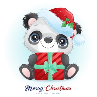 Cute  panda for christmas day with watercolor illustration
