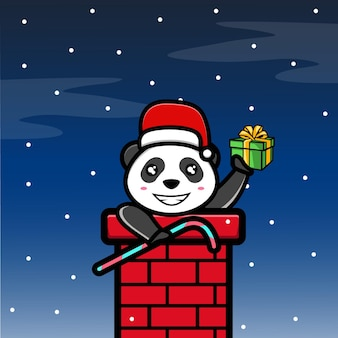 Cute panda in the christmas night