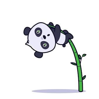 귀여운 팬더 등반 대나무 나무 그림