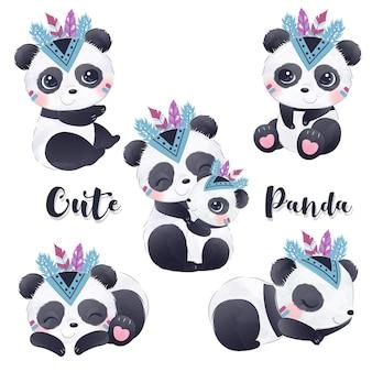 水彩イラストでかわいいパンダのクリップアート