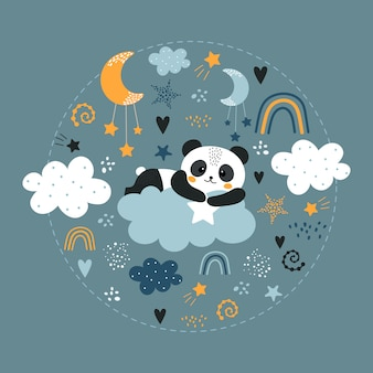 Cute panda on the cloud.