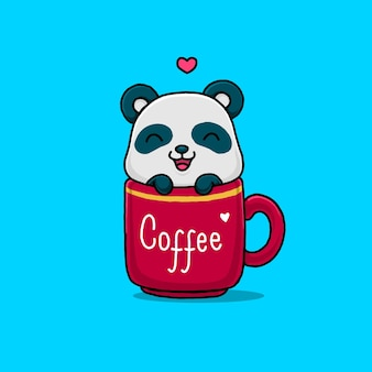 Cute panda on the coffee cup isolated on blue